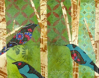 Bird Art - Whimsical Bird Art - Fine Art Print- Collage Art - 5 x 7 - Mixed Media Collage - Birds in Trees - Giclee Print - Wall Art