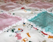 Custom Listing, DIY Organic Quilt Kit, Baby Girl Rag Quilt Blanket Kit, Pink Blue, Organic Cotton, Organic Cotton Flannel, Ready to Sew