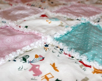 DIY, Organic, Baby, Girl, Quilt, Kit, Rag, Quilt, Blanket, Kit, Pink, Blue, Cream, White, Organic, Cotton, Ready to Sew, Front Side Only