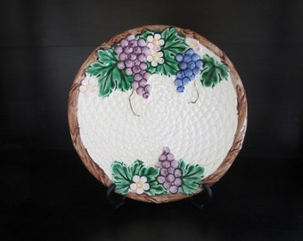 Vintage Decorative Plate - Embossed Grape Clusters And Basket Weave Design - Made by Takahashi Japan