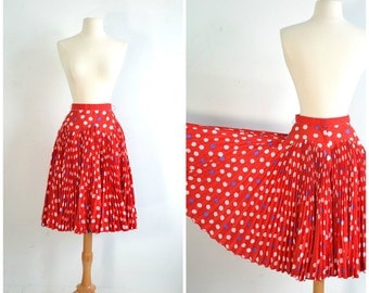 70s 80s Vintage Circle Skirt Can Can Dance Accordion Pleated Full Circle Polka Dot Red Skirt - 24-1/2 inch waist - Extra Small to Small