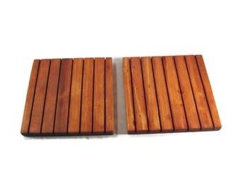 Wood Trivets Set of Two - Rustic Kitchen Decor - 14 Color Options
