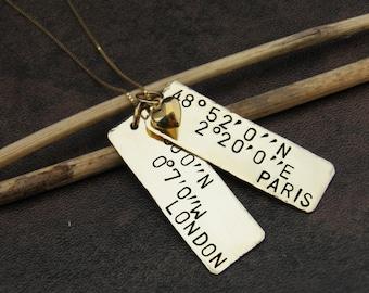 Latitude Longitude Necklace , Coordinates Jewelry, Custom Coordinates Necklace with 2 Locations , Gold Coordinates Necklace - Personalized