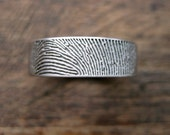 Finger Print Wedding Band in Palladium with Flat Surface and Cool Matte Finish and Quote Engraving in Customer Handwriting Size 9/6mm
