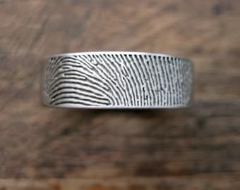 Finger Print Wedding Band in Palladium with Flat Surface and Cool Matte Finish and Quote Engraving in Customer Handwriting Size 9