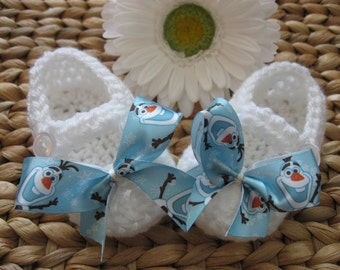 White Crochet Baby Mary Janes with Snowman Hand sewn Bows 3-6 M
