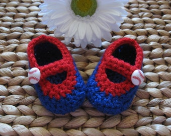 Littlest Sports Fan Blue and Red Baseball Baby Janes 0-3 Months