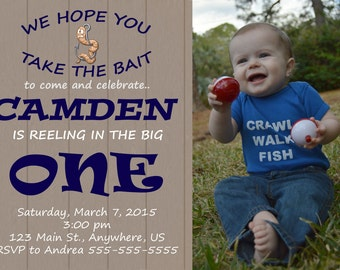 Gone Fishing First Birthday Invitation, Reeling In The Big One, Fishing Birthday