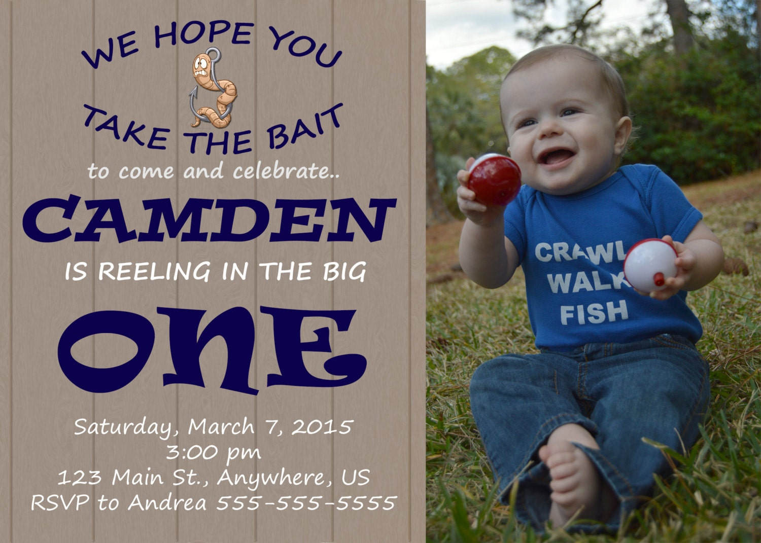 Gone fishing first birthday invitation reeling in the big for Fishing first birthday