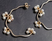 White Pearl Flower Earrings, Nature Inspired Wedding Jewelry, Gift for her