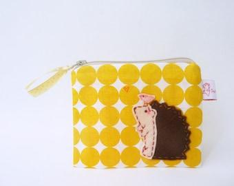 Hedgehog Coin Purse Coin Wallet Zipper Pouch Geometric Purse Small Change Pouch Cute Hedgehog Yellow Polka dot Fabric Handmade Purse