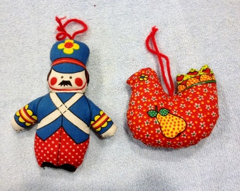 Two Vintage Hand-Sewn Christmas Ornaments