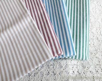Simple Stripe Fabric, Retro Natural Stripes Collection, Choose Color-Japanese Linen Cotton Blended Fabric(Fat Quarter)