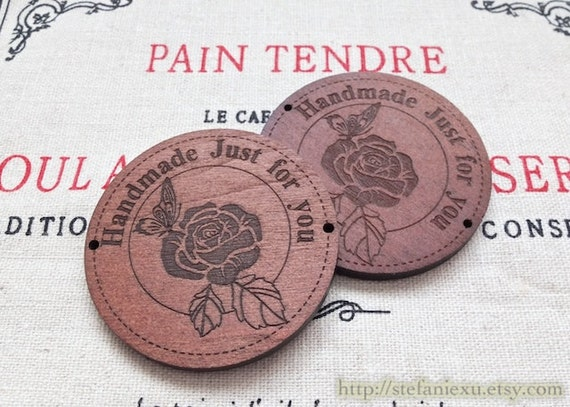 2PCS Wooden Button, Charm - Retro French Style Rose Handmade Round Labels, Just For You (2 PCS, D=4CM)