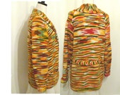 Rasta Colors Cardigan Sweater  / Vintage Multicolor Shawl / Medium / Large/ Space Dye
