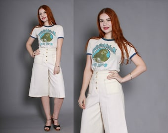 70s Boho Natural Cotton GAUCHOS / 1970s High Waisted Off-White Culottes XS