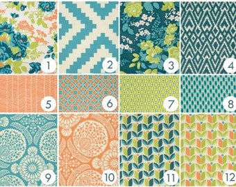 Baby Bedding - Boho Chic Custom Crib Bedding - Peach, Orange, Teal, Turquoise, Aqua, Lime