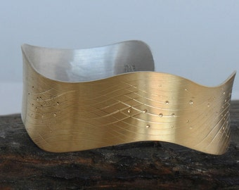 18K Gold Cuff, Gold Bracelet, 18K Gold and Sterling Silver Cuff Bracelet, Waves Cuff, Bimetal Cuff, Mixed Metal Cuff
