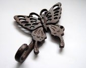 Hand Painted Butterfly Iron Hook