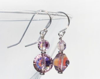 Pink Vintage Multi-Faceted Glass Beads Crystal Beads Sterling Silver Dangle Earrings Limited Edition