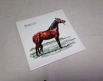 Vintage Tile Trivet MORGAN HORSE with Cork Backing Kitchen Screencraft