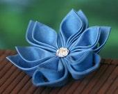 Blue flower brooch, silk pin, wedding, bridal, princess, sky, baby, light, cornflower, carolina, floral, Japanese, kanzashi, UK, handmade