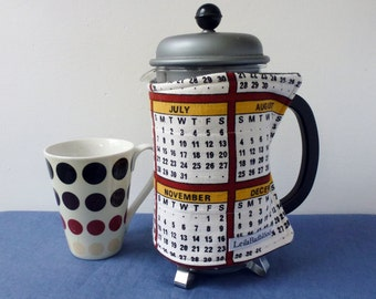Calendar cafetiere cosy, reclaimed fabric french press cozy, months and dates