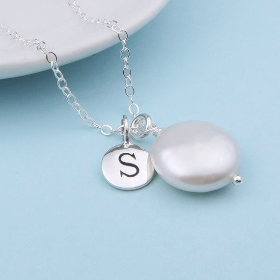 Wedding Necklace, Coin Pearl Personalized Necklace, Sterling Silver, Custom Initial Necklace, bridesmaid jewelry, weddings