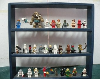 Handcrafted Solid Pine Gloss Blue Painted, Legos Minifigure  Display Shelf w/ gray 4x wide  Legos plates