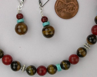 Turquoise Tigereye and Coral Necklace and Earrings