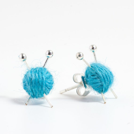 Knitting Needles & Ball of Wool Earrings - Blue yarn studs