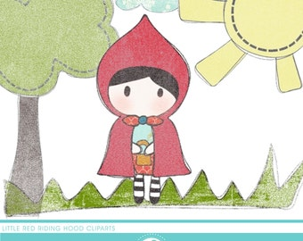 little red riding hood stamp cliparts - COMMERCIAL USE OK