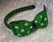 St. Patricks Day Headband with Large Matching Double Bow Hand woven Grosgrain Ribbon Spring