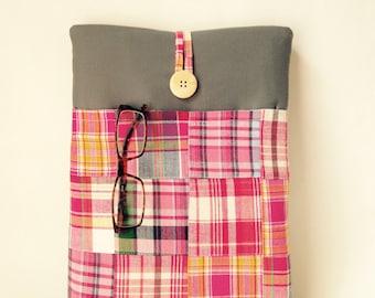 Macbook Pro 13 . 3 Case, Madras Plaid Pro Retina, Custom Mac book Sleeve Cord Pocket 13 inch Handmade Laptop Dust Cover Pink Quilt Patchwork