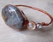 Gemstone Bangle Bracelet, Boho Gemstone Bangle Bracelet, Plus Sized Gemstone Bangle Bracelet, Copper Bangle Bracelet, Stacking Bracelet