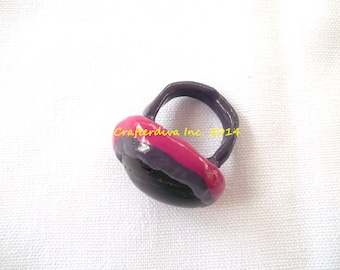 Stone Ring, Polymer Clay Ring, Purple and Pink Clay Ring, Clay and Stone Ring, Large Stone Ring