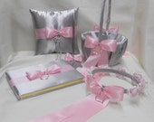 Wedding Accessories Silver Light Pink Flower Girl Basket Flower Girl Halo Ring Bearer Pillow Guest Book Pen Your Colors