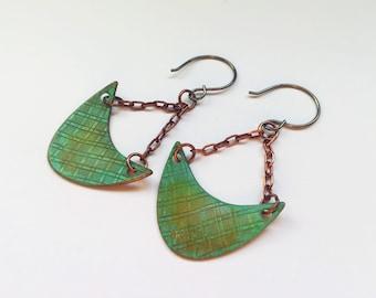 Verdigris Crescent Earrings