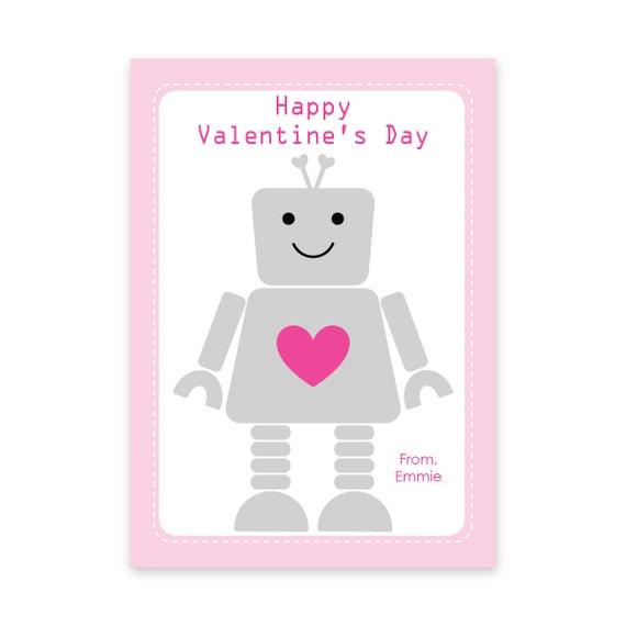 PRINTABLE Robot Valentines Robot Valentine Cards PDF by