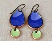 12th Man Pride Seattle Raindrop Enamel Earrings with Light Lime Green