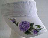 Women's White Visor with hand painted purple rose