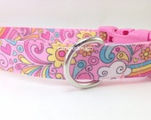 Dog Collar, Flowers and Rainbow, 1 inch wide, adjustable, quick release, metal buckle, chain, martingale, hybrid, nylon