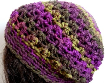 Crochet Slouchy Hat in Puruple, Violet for Teens and Women, Beanie