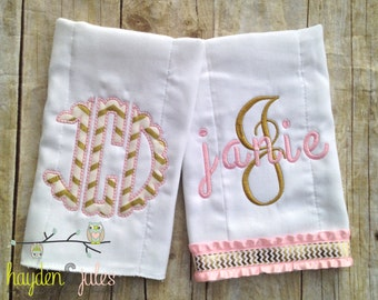 Monogrammed Pink and Gold Burp Cloths - Set of 2, Personalized