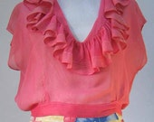 Vintage Pink Ruffled Sheer Blouse