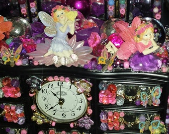 "Fairy Pixie Angel ""WISH"" Whimsical Pink Purple Sparkly Butterfly Embellished Vanity Mirror Clock Jewelry Music Box Treasure Chest Drawers"