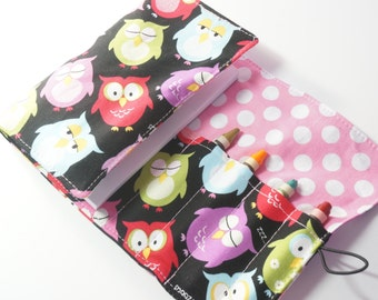 Handmade Crayon Wallet - Sleepy Owls - owl theme birthday gift.party favor.art wallet.toddler gift.party favor -Crayons and Pad NOT INCLUDED