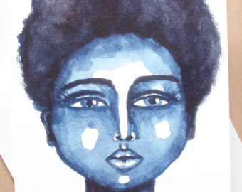African American 'Little Blue' Greeting Card