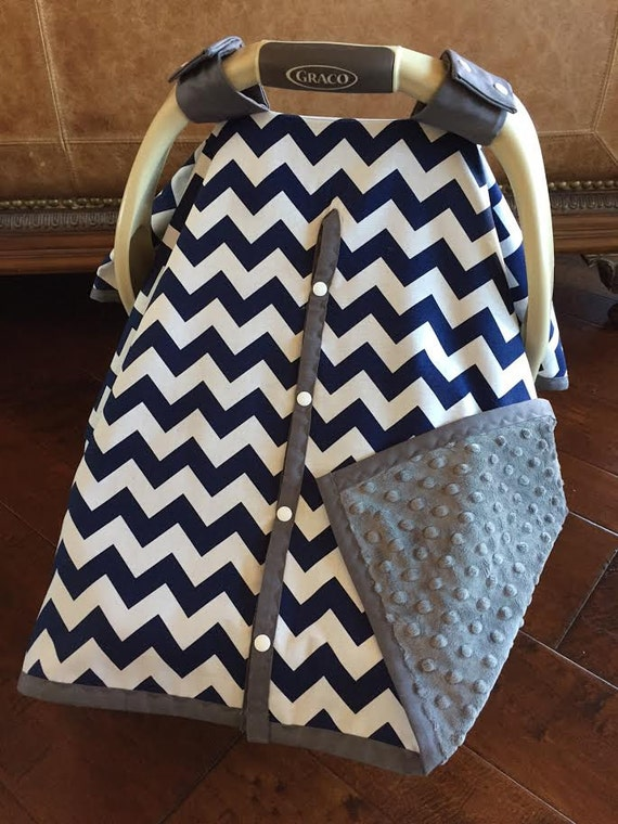 items similar to super cute baby car seat covers chevron in navy and gray minky with or. Black Bedroom Furniture Sets. Home Design Ideas