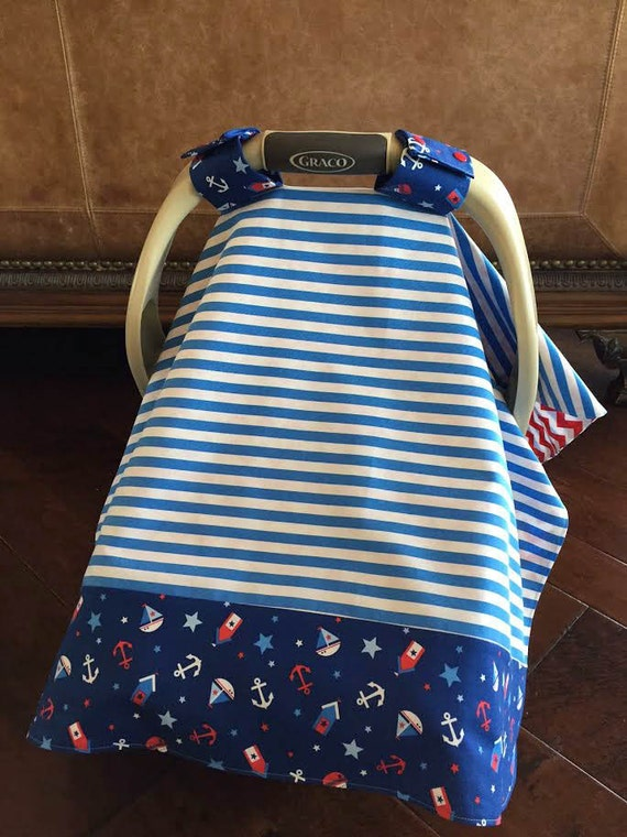 super cute baby car seat cover nautical prints by kitcarsonblue. Black Bedroom Furniture Sets. Home Design Ideas